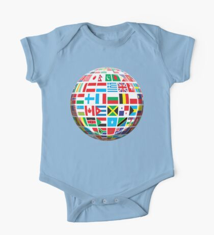 World, Flags of the Globe, Flags, Globe, Peace, Global One Piece - Short Sleeve