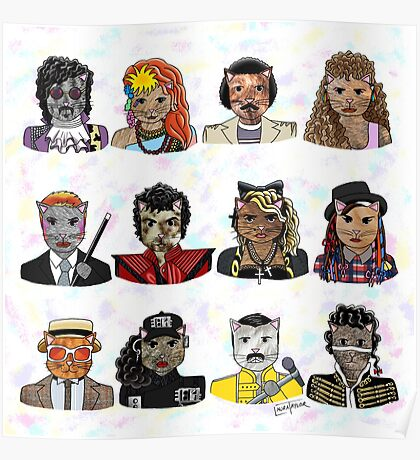 80s Cats Poster