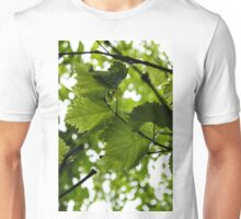 Green Summer Rain with Grape Leaves - Vertical Unisex T-Shirt