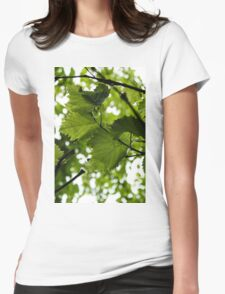 Green Summer Rain with Grape Leaves - Vertical Womens Fitted T-Shirt