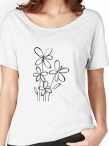 Black & White Flowers Women's Relaxed Fit T-Shirt