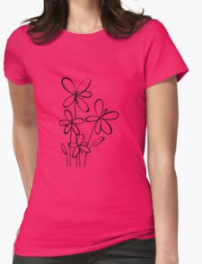 Black & White Flowers Womens Fitted T-Shirt