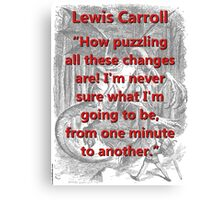 How Puzzling All These Changes Are - L Carroll Canvas Print