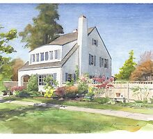 white house w/fence garden watercolor by Mike Theuer