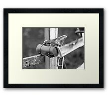 Leather saddle and bag Framed Print