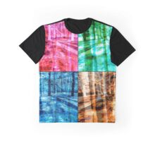 Colorful Forest Trees Four Color Patch Organic Design Graphic T-Shirt