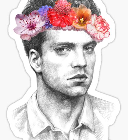 Sebastian Stan, Flower Crown (2) Sticker