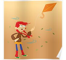 little girl with kite Poster