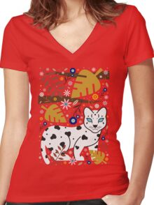 Snow Leopard Cub Women's Fitted V-Neck T-Shirt