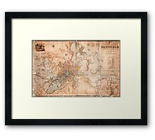 Map of the town and environs of Sheffield, Yorkshire by J. Tayler, 1832 Framed Print