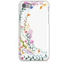 Watercolor Rainbow Flower Wreath iPhone Case/Skin