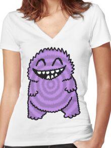 Purple Fuzz Monster Women's Fitted V-Neck T-Shirt