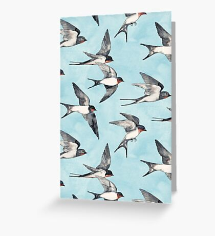 Blue Sky Swallow Flight Greeting Card