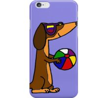 Cool Funky Dachshund Dog with Beach Ball iPhone Case/Skin