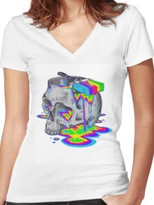 Rainbow Painted Skull Women's Fitted V-Neck T-Shirt