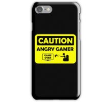 Caution Angry gamer iPhone Case/Skin