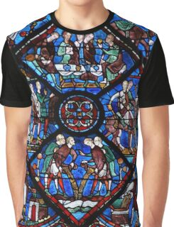 Chartres Cathedral Stained Glass Window Graphic T-Shirt
