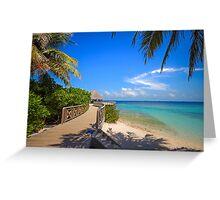 White sandy beach at Maldivian island Greeting Card