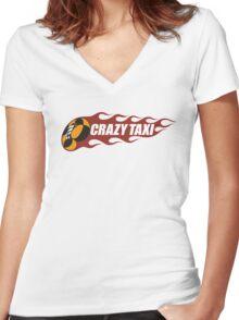 Crazy Taxi Logo Retro 16bit Women's Fitted V-Neck T-Shirt