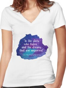 A Court of Mist and Fury - Watercolour Quote Women's Fitted V-Neck T-Shirt