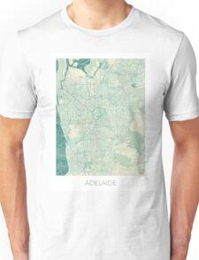 Adelaide Map Blue Vintage Unisex T-Shirt