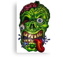 Zombie Skull Brains Canvas Print