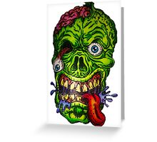 Zombie Skull Brains Greeting Card