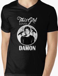 This Girl Loves Damon. 2. TVD. Mens V-Neck T-Shirt
