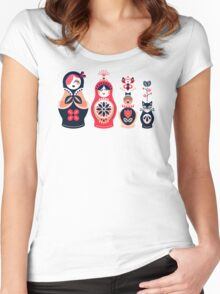Russian Nesting Dolls – Hot Pink Women's Fitted Scoop T-Shirt