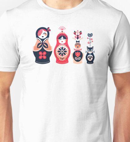 Russian Nesting Dolls – Hot Pink Unisex T-Shirt