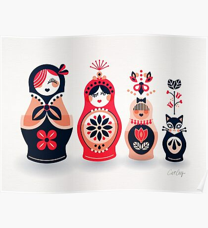 Russian Nesting Dolls – Hot Pink Poster