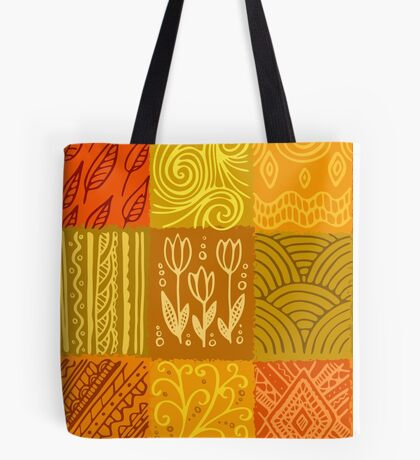 Orange hand-drawn pattern Tote Bag
