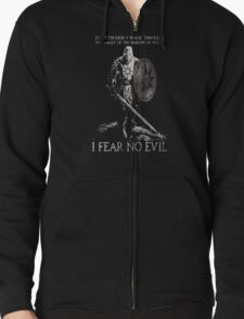 Praise the sun T-shirt,I Fear No Evil-Even though i Walk Through The Valley of the Shadow of Death Zipped Hoodie