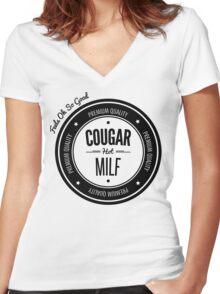 Vintage Retro Cougar Hot Milf T-shirt Women's Fitted V-Neck T-Shirt