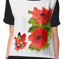 Puzzle-look gerbera photo Chiffon Top