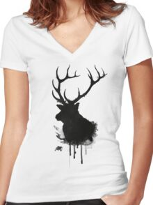 Elk Women's Fitted V-Neck T-Shirt