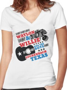 Waylon Willie and The Boys Luckenbach, Texas Women's Fitted V-Neck T-Shirt