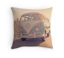 Surfer's Vintage Vw Samba Bus At The Beach 2016 Throw Pillow