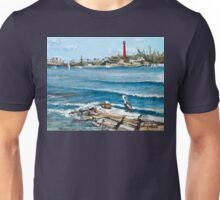 Lighthouse View with Two Pelicans Unisex T-Shirt
