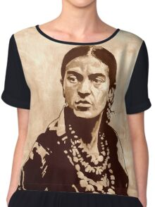 FRIDA Kahlo - the mistress of ARTs - sepia QUOTE Chiffon Top