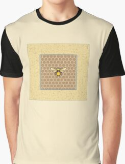 Bumblebee on Honeycomb Pattern Graphic T-Shirt