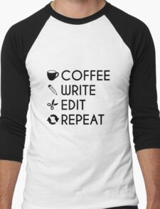 Coffee Write Save Repeat Writers Coffee Lovers Black Vector Design Men's Baseball ¾ T-Shirt