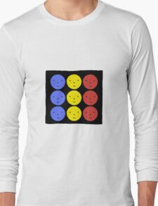 Funky Tri Color Face Design | Cool Line Art Long Sleeve T-Shirt
