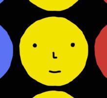 Funky Tri Color Face Design | Cool Line Art Sticker