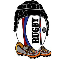 Rugby Ball with Gear Photographic Print