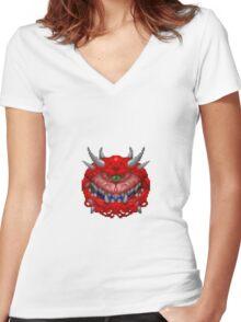DOOM - Cacodemon Women's Fitted V-Neck T-Shirt