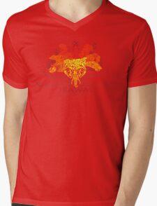 JBAWM Red Flower Mens V-Neck T-Shirt