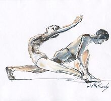 Gimnastica, Dance, Ballet, children art, Boy & Girl dancing, ink & oil on paper by Dmitri Matkovsky