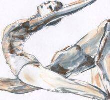 Gimnastica, Dance, Ballet, children art, Boy & Girl dancing, ink & oil on paper Sticker