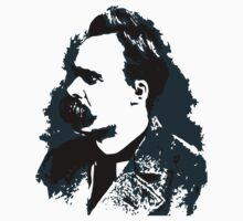 Friedrich Nietzsche portrait vector drawing  Kids Tee